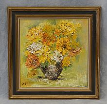 Buttery, 20th c, o/masonite, vase of flowers, palette knife painting, 24