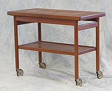 Mid Century Modern Serving Cart with expandable top, Danish Control Mark stamped to bottom, 25