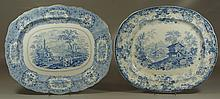 2 English blue and white Staffordshire platters, one marked