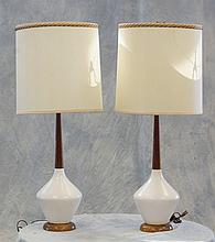 Pr Mid Century Modern wood and ceramic table lamps,