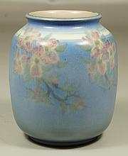 Rookwood Vellum Glaze Vase with dogwood decoration, dated 1945, mold number 6194D, signed