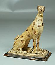 Early Continental Glazed Pottery Dog, signature to base, one ear replaced, small repair to base, 8-3/4