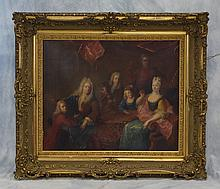 Continental School 19th c, O/C, A Royal Family Grouping in an ornate gilt frame, sight size 36