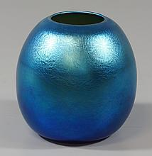 Durand Art Glass Vase with blue iridescent decoration, signature to base, 4