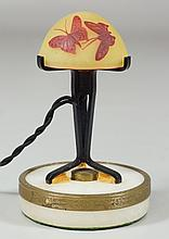 Miniature Galle Cameo Glass Lamp Shade, iron stand with ormolu mounted and stone base,  European wiring, overall approx 5-1/2