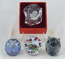 4 Art Glass Paperweights to include a Ulysses S Grant clear crystal weight, a Kerry Glass cat weight, a blue multi bubble swirl weig...