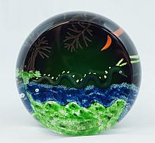 William Manson Art Glass Paperweight depicting a sea serpent, signed and dated 1998