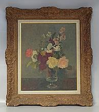 Roland Oudot, French, 1897-1981, o/ canvas, Impressionist still-life of flowers in vase, overall good condition,SLL, 24