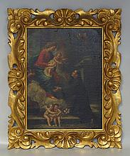 19th Century Italian Religious Figural group, o/ board, overall inpainting and paint loss, in Italian gilded frame, 16