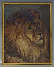 Thomas Corwin Lindsay, American, 1839-1907, o/ canvas, Lion, ILR, minor flaking around the border, 34