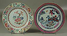 2 Chinese Export Porcelain Plates, one floral decorated center, the second with a landscape scene, both about 9-1/4