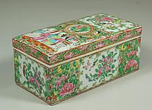 Chinese Export Rose Medallion Porcelain brush box, minor wear to enameling, 7-3/8