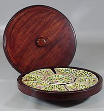 Chinese Famille Jaune Porcelain Sweet Meat Set, together with a later wooden box with lazy Susan bottom, 13-1/4