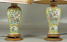 Pair of Chinese Famille Jaune Porcelain Garniture vases mounted as lamps, vases measures 10