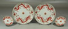 4 Pcs Asian porcelain to include a large pair of dragon decorated bowls, 8-1/2