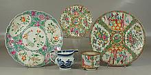 5 Pcs of Asian Porcelain to include a Rose Medallion Charger, 11-3/4