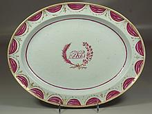 Oval Chinese Export Porcelain Armorial Platter, Rose Du Barry draped border, approx 13