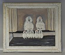 Jesse Drew Bear, English 1877-1962, New Hope, PA, exhibited at PAFA, Portrait of Poodles, overall good condition, SLR, 20