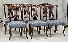 6 Mahogany Queen Anne style dining room chairs, 37