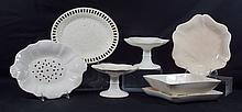 7 pcs of Wedgwood creamware to include a pierced berry dish with underplate, a pair of compotes with minor edge chips to one, a pier...