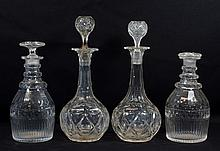 4 English 19th century cut crystal decanters, one stopper missing base, tallest approx 12