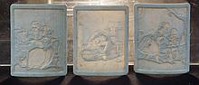 3 German lithophane plaques depicting an artist, musician etc, mark to rear PPM, each approx 3-1/2