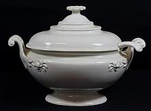 Large Wedgwood Queensware covered tureen and ladle, marked Wedgwood only, approx 14-1/2