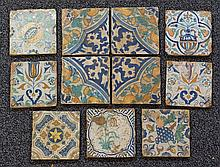 11 Dutch Delft Polychrome tiles depicting fruit & flowers etc, approx 5-1/2