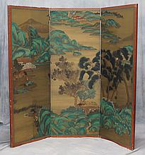 Chinese painted paper 3-fold screen with landscape decoration, each panel 25-1/2