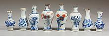 8 Miniature Early Chinese Imari porcelain vases, tallest approx 3
