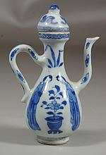 Chinese blue and white small porcelain wine pot, early 18th century, artimesia leaf mark to base, 4-3/4