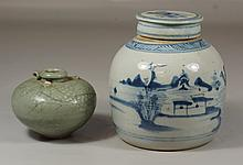2 pcs Chinese porcelain to include a blue and white canton ginger jar together with a small celadon vase, decorated with a dragon, w...
