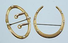 14K YG oval snaffle pin,  4 pearls, w/ a 14K YG horseshoe pin, 6.9 dwt
