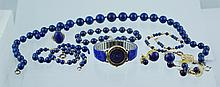 Lot lapis jewelry to include 4 bracelets, 2 w/14K catches, 4 pr earrings, all w/14K mounts, 1 pr w/small diamonds, 14K YG oval ring,...
