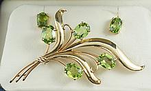 14K YG floral spray pin with four 8x6