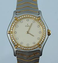 Ladies Ebel SS and YG wristwatch, diamond dial and bezel, quartz movement, SN 425097, cracked rear glass