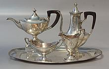 5 pc Reed and Barton sterling silver teaset, Corinthian capitol engraving, 2 pots, creamer, sugar, tray, 9