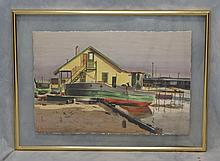 Giovanni Martino, American, 1907-1997, NAD member, Ship in Dry Dock, SLR, 19 1/2