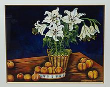 Margaretha (?), o/ board, Still life with flowers, dated 1991, 19