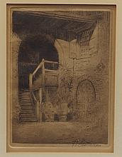 George Castleden, American, 1861-1945, etching, New Orleans Courtyard, P/S/ LR on image, 6 3/4