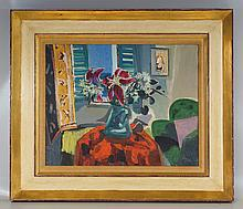 Frederick Serger, American, 1889-1965, o/canvas, still-life Flowers at Window, in 15 1/2