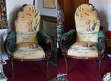 Pair of Asian themed and mohair upholstered fireside chairs with green channel upholstered rolled arms, carved mahogany frames, circ...