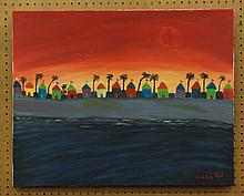 Yepremian, Garo, oil, Huts at Sunset, 24
