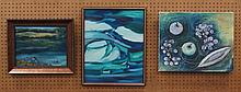 (3) Pieces of art, oils, Blue Pond by unknown artist (17-1/2
