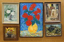 (5) Pieces of art: oils, Red Flowers by Serguei Airapetian (24