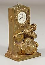 French brass desk clock with woman with bonnet, enamel dial, currently not working, 4-1/2