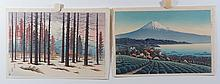 (2) 20th Cent. Japanese Prints, Colored Woodblocks,  Mt. Fuji through Forest and Mt. Fuji across Harbor, unframed, both 9 1/2