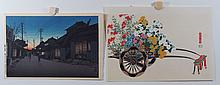 (2) 20th Cent. Japanese Prints, Colored Woodblocks, both unframed, Nighttime Stroll, 9 1/2