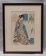 Toyokuni, Japanese, 19th Cent, Colored Woodblock, Geisha, c. 1850, some surface loss, 13 1/4