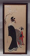 Ayeshi (?), 19th Cent. Japanese prints, Colored Wood block, Woman and Girl, water staining to lower center, foxing, 30 1/4 x 13 1/4